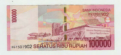 100,000 Indonesian Rupiah IDR note used circulated Sukarno Hatta Red