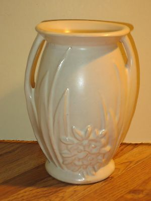 Vintage McCoy Matte White Pottery Vase With Raised Flowers And Leaves
