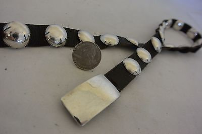 "signed LEROY F. YAZZIE Navajo CONCHO BELT buckle Sterling Silver ""Moon Discs"""