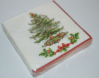 SPODE Garland Tree Christmas 20 3-Ply Beverage Napkins NEW Sealed Party