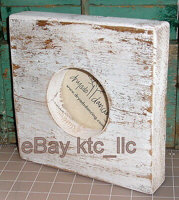 shabby Dryads Dancing DISTRESS WHITE antique reclaimed wood block PICTURE FRAME