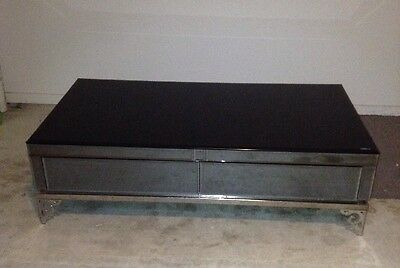 Tempered Glass Coffee Table - 2 Drawer