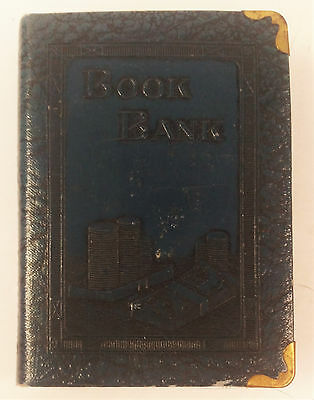 Vintage Zell Co NY Book Bank Metal Savings Coin or Bills