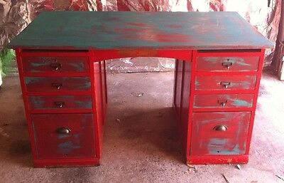 SHABBY CHIC ARTIST VINTAGE DESK  - 8 drawers SOLID TIMBER