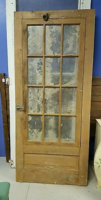 Old Vintage Wooden 12-Glass Pane Salvage Door- Local Pickup Only