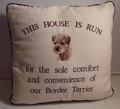 """BORDER TERRIER decorative pillow embroidered decoration 12"""" x 12"""""""