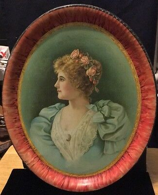 Early 1900's Pretty Girl In Profile Roses In Hair Large Metal Tray