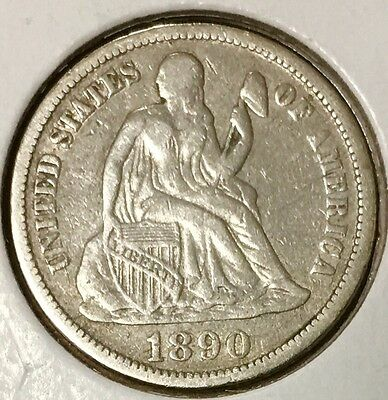Fantastic 1890 10C Liberty Seated Dime with VF Details