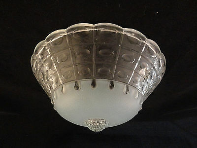 Vintage 3 Hole Hanging Blue Accented Glass Ceiling Light Fixture