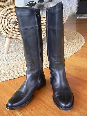 Country Road Black Leather Knee High Boots - Size 36