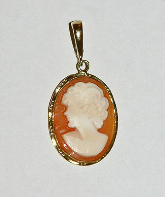 Fine 14K Solid Yellow Gold Carved Cameo Pendant ~ 2.3 Grams