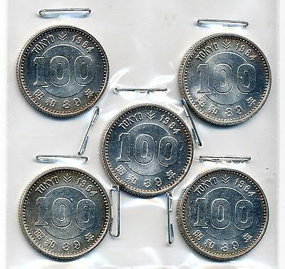 Lot Of 5 -1964 [Yr 39] Auunc Japan 100 Yen Tokyo Olympics Comm. Coins - Silver