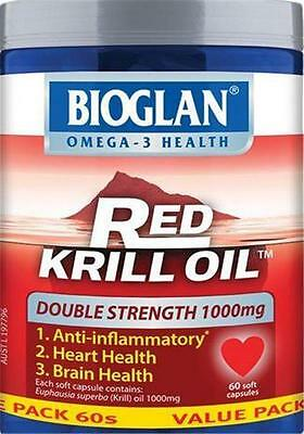 60 Capsules Bioglan RED KRILL OIL 1000mg DOUBLE STRENGTH - Exp 02/2019