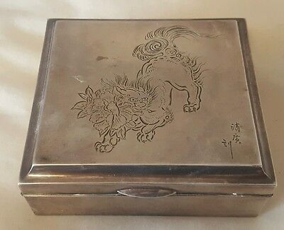 Sterling Silver 950 Asian Komainu Foo Dog Etched Box w Wood Lining Artist Signed