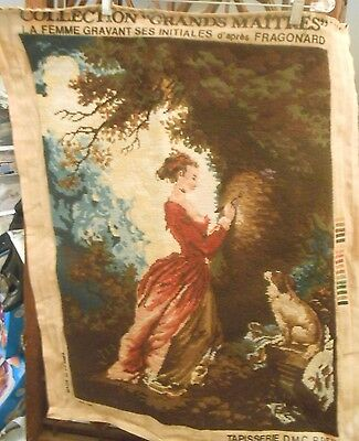 VTG TAPESTRY FRENCH wall hanging  woven Renaissance Romantic Lady Dog Scene 27""