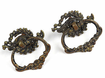 Antique Pair Set OLD Bronze Brass Drawer Cupboard Pull Handle Hardware