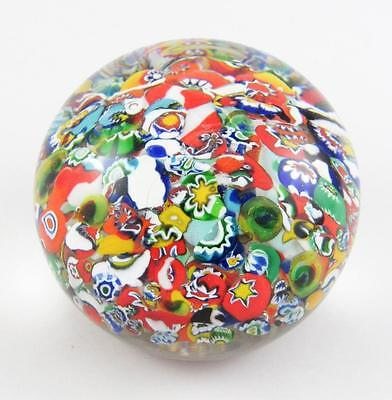 """Vintage Gentile Glass 2.75"""" Tightly Packed Scramble Millefiori Paperweight 1978"""