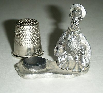 Mother Goose Vintage 1970 Metzke Pewter thimble with Magnetized Thimble Holder