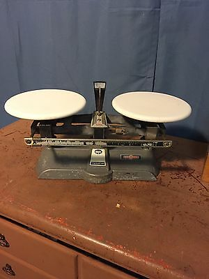 Vintage Ohaus Trip Balance Scale #1201 10 Kg With 13 Brass Weights & Box  RARE