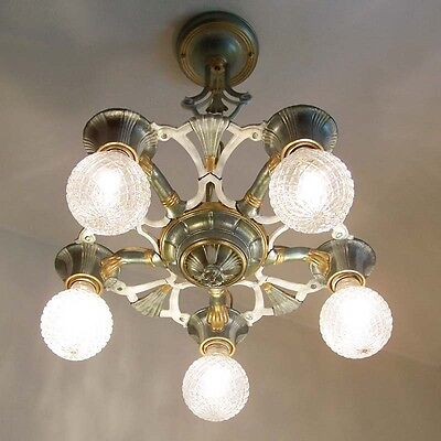 885 Vintage 20s 30s Ceiling Light lamp fixture art nouveau polychrome chandelier