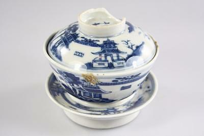 ANTIQUE CHINESE QING DYNASTY 'KANG XI' BLUE WHITE LIDDED BOWL w/ STAND