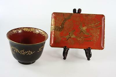 Vintage Japanese Hand Painted Lacquer Tray And Cup Set