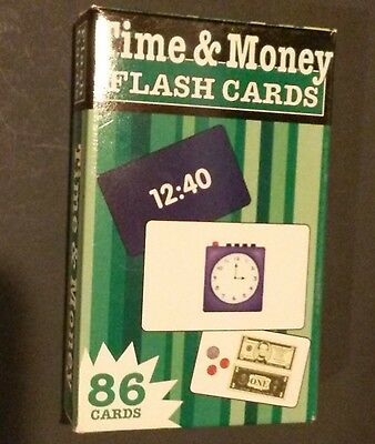 TIME MONEY FLASH CARDS 86 cards Flash Kids read clocks count EXCELLENT CONDITION