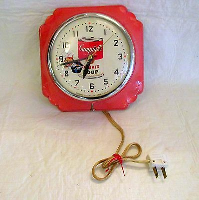 Campbell's Soup advertising clock Pink Art Deco body Campbell's kid on dial