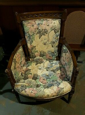 Vintage Antique Floral Flower Wood Low Arm Chair Upholstered Pattern