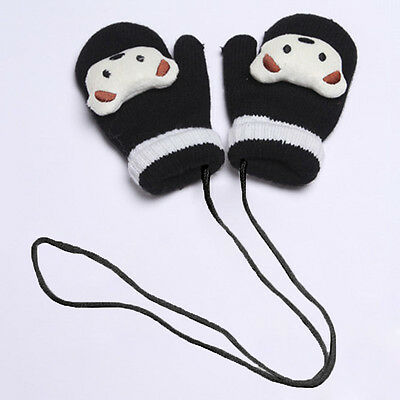Hot Kids Toddler Knitted Gloves Winter Double-thick Velvet Halter Wrist Mitten