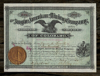 1882 SUMMIT CO. COLORADO Anglo American Silver Mining Company Stock Certificate