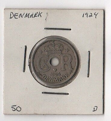 DENMARK 25 ORE 1924 Old Coin Vintage