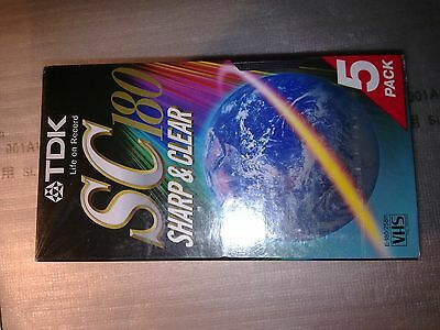 TDK SC E-180 VHS VCR Tapes Pack 5x Video cassete  Brand New Sealed Made in Korea