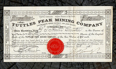 1881 SAN JUAN COLORADO Tuttles Peak Mining Co Stock Certificate - Mineral Point