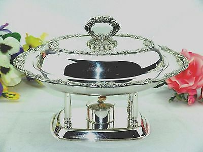 English Silver Footed Lidded Buffet Food Warmer  Chafing Dish + Liner + Warmer