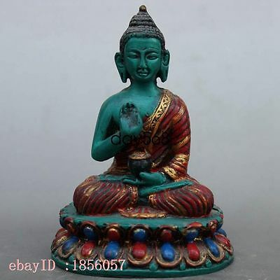 Decoration collection Tibet Turquoise Handwork Buddha Statues HN