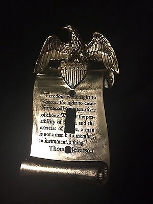 1967 Brass Wall Plate Eagle Thomas Jefferson Switch Cover Freedom Quote 6