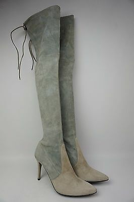 faedb9ac383 Stuart Weitzman Highland Over the Knee Two Tone Grey Suede Boots Size 8.5 M
