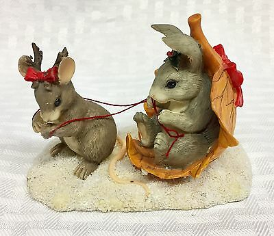 Charming Tails Mouse as Reindeer pulling Bunny on Leaf Sleigh #2870 out of 7500