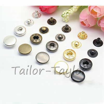 10 Set Metal Snap Buttons Fastener Poppers Denim Jeans Sewing for Jean Pants