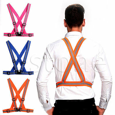 Adults Adjustable Security Visibility Reflective Safety Vest Gear Stripes Jacket
