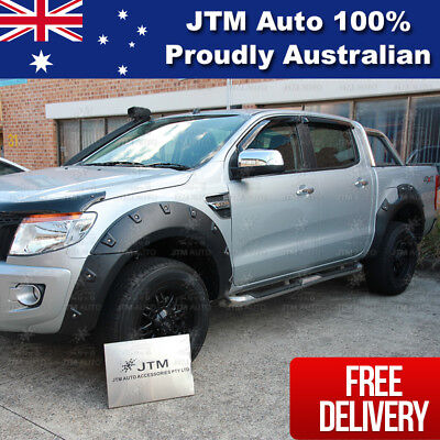 Ford Ranger PX Wrinkle Black Fender Flares Wheel Arch Pocket Style 2012-2015