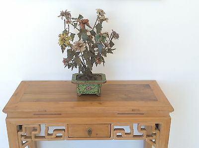 Antique Chinese Jade Hardstone Peony Tree in Cloisonne Jardiniere C 1890 49cmH