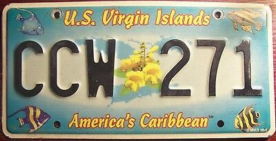 2005 U.s. Virgin Islands Graphic  License Plate With Tropical Fish Caribbean