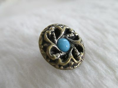 *ANTIQUE 19th C. STUNNING ROBINS EGG BLUE GLASS SET in SILVER BRASS BUTTON 1/2""
