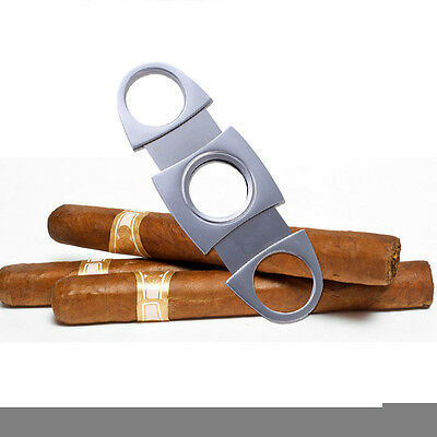 UK Silver Stainless Steel Cigar Cutter Scissors Tobacco Double Twin Blade Pocket
