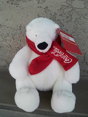 Coca Cola White Sitting 7 Inch Polar Bear With Tags Plush and SOFT!!!