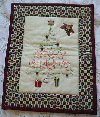 Merry Christmas Tree Embroidered Quilted Wall Hanging with Buttons and Bells