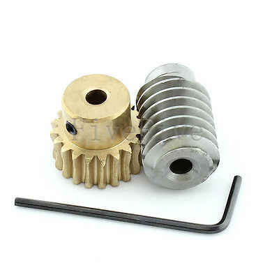 1M-20T-1T Module 1 Worm Gear Metal 90° Angle Set Kit Ratio 20:1 Wheelbase 18mm