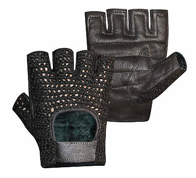 Real Leather Padded Crochet Weight Lifting Training Cycling Gym Wheelchair Glove